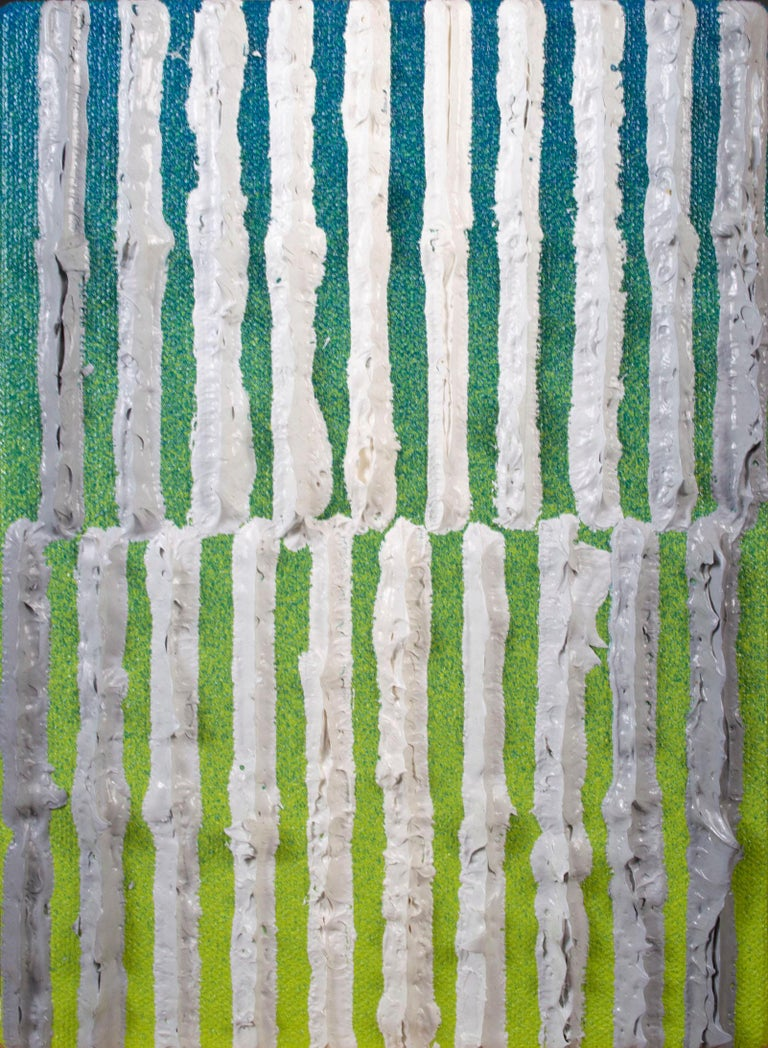 This painting is a small and intimate example of the paintings of Daniel Klewer, coming from his series 'Linear Tactility.' The paintings in this series all share a consistent, linearly divided composition with investigations into the visual and