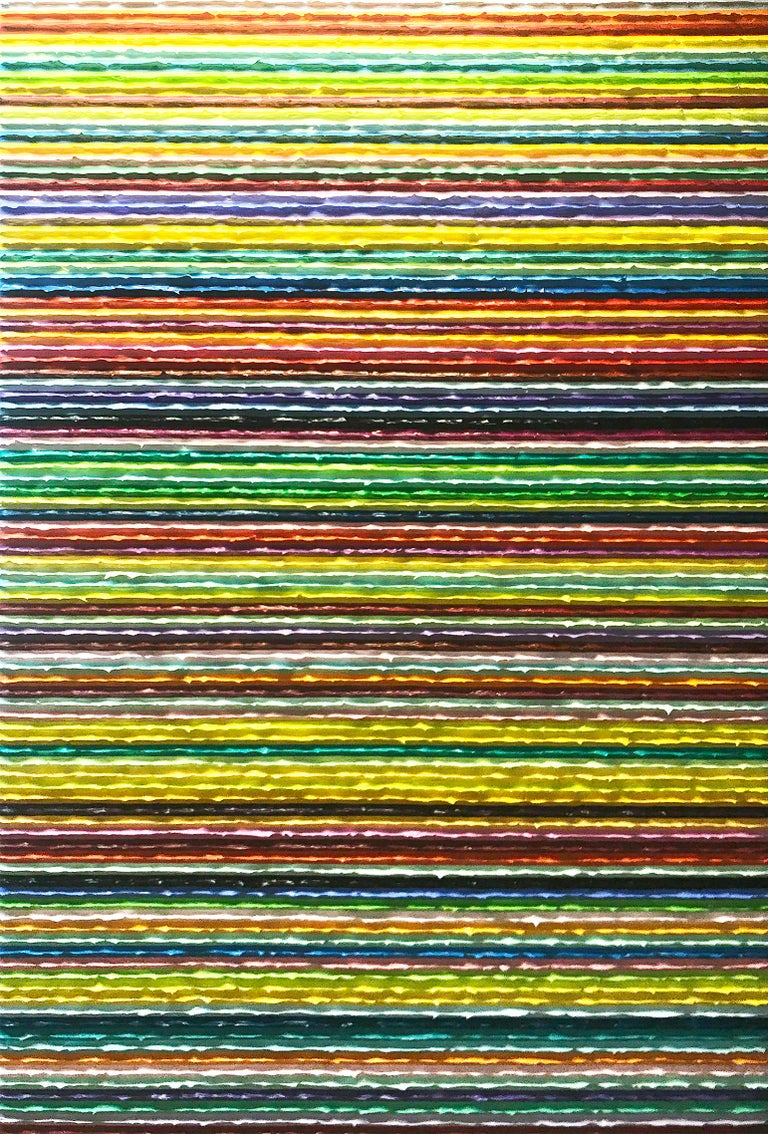 This painting is a large-scale example of the paintings of Daniel Klewer, coming from his series 'Linear Tactility.' The paintings in this series all share a consistent, linearly divided composition with investigations into the visual and