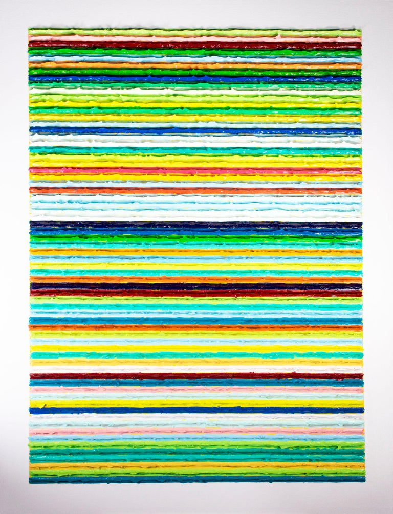 This painting is a large-scale example of the paintings of Daniel Klewer, coming from his series 'Linear Tactility.' The paintings in this series share a consistent, linearly divided composition with investigations into the visual and psychological