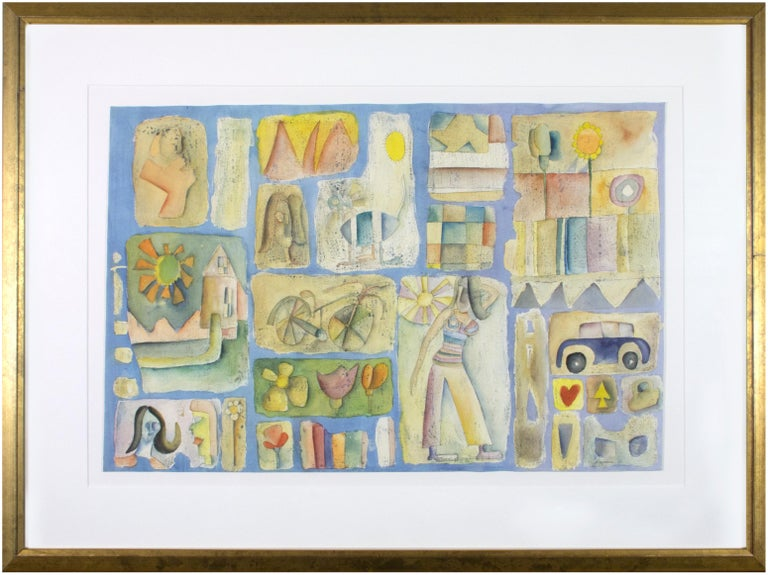 The present painting is an excellent example of Joseph Rozman's pictographic style. The composition is dominated by abstracted vignettes: A fashionable woman beneath the sun, a car, a suburban house, flower gardens, a bicycle, the American flag –