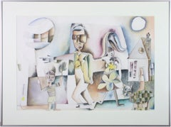 'Family Outing' original watercolor signed by Joseph Rozman