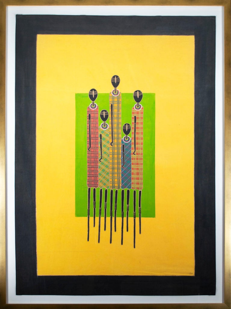 The present painting is a bold an vibrant work by the artist and fashion designer Stella Atal. The image contains five abstract, cleanly-drawn figures against bright fields of green and yellow. The figures, representing hunters, are the very same