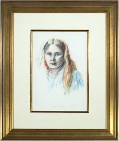 'Self Portrait' original pastel and graphite drawing signed by Sandra Sweeney