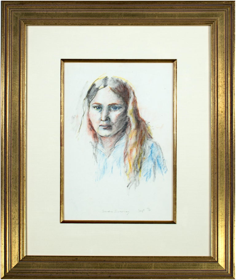 Following in line with artists before her, like Rembrandt and van Gogh, Sandra Sweeny here presents a self portrait. The image is direct but subtle in its handling of materials, but also in the frank gaze of the artist. She looks directly at the