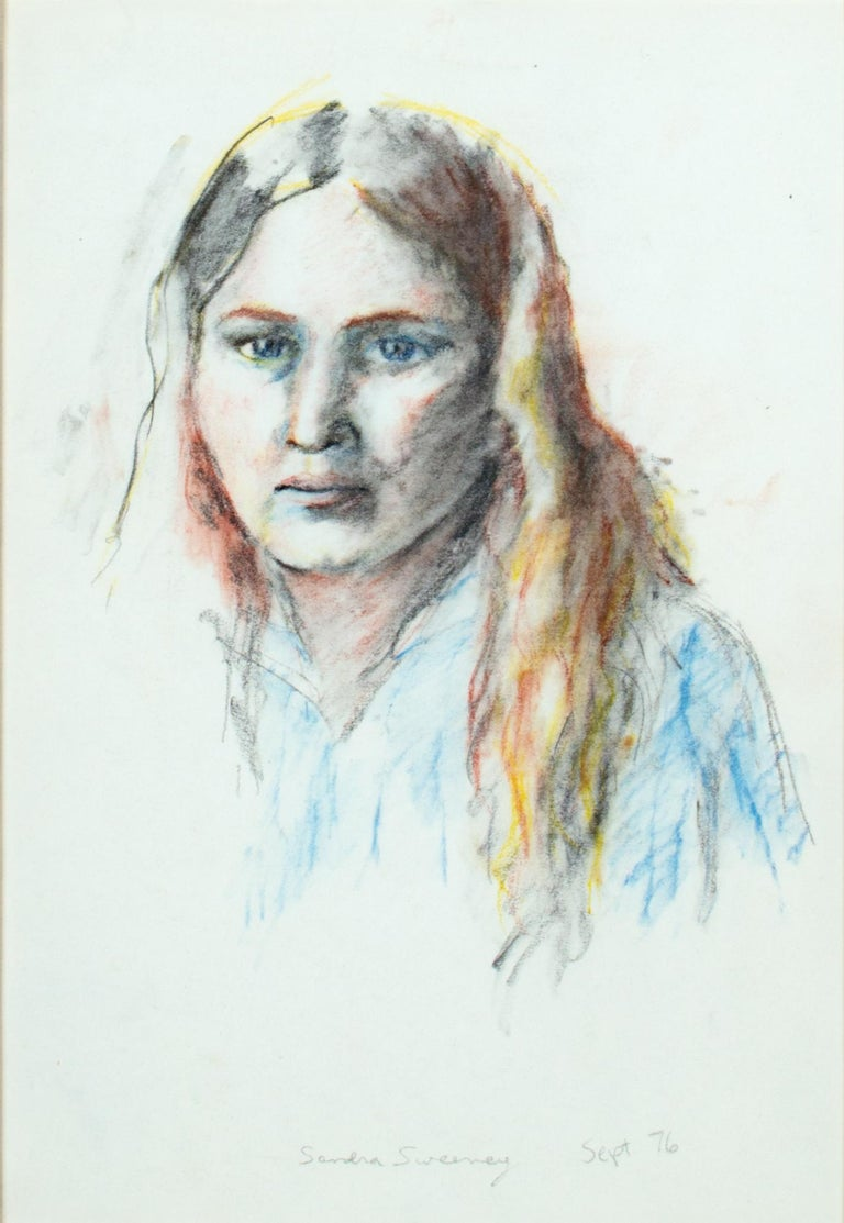'Self Portrait' original pastel and graphite drawing signed by Sandra Sweeney For Sale 1