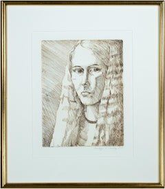 'Self Portrait 1974' original etching signed by Sandra Sweeney