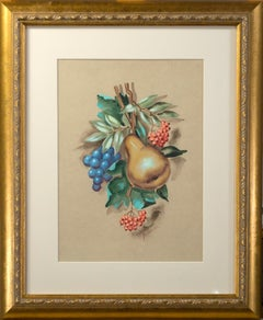 'Fruit Still Life' original watercolor and gouache on board, signed Yolanda