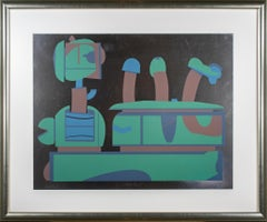 'Untitled' original 1960s signed serigraph in green blue & brown on foil