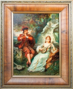 'Two Musicians' original signed oil on mahogany painting, garden 19th century