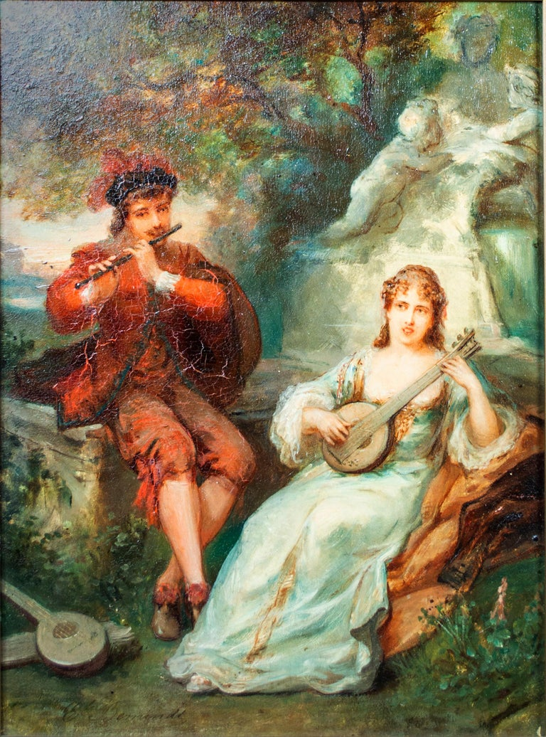 'Two Musicians' original signed oil on mahogany painting, garden 19th century - Painting by Émile Bemindt
