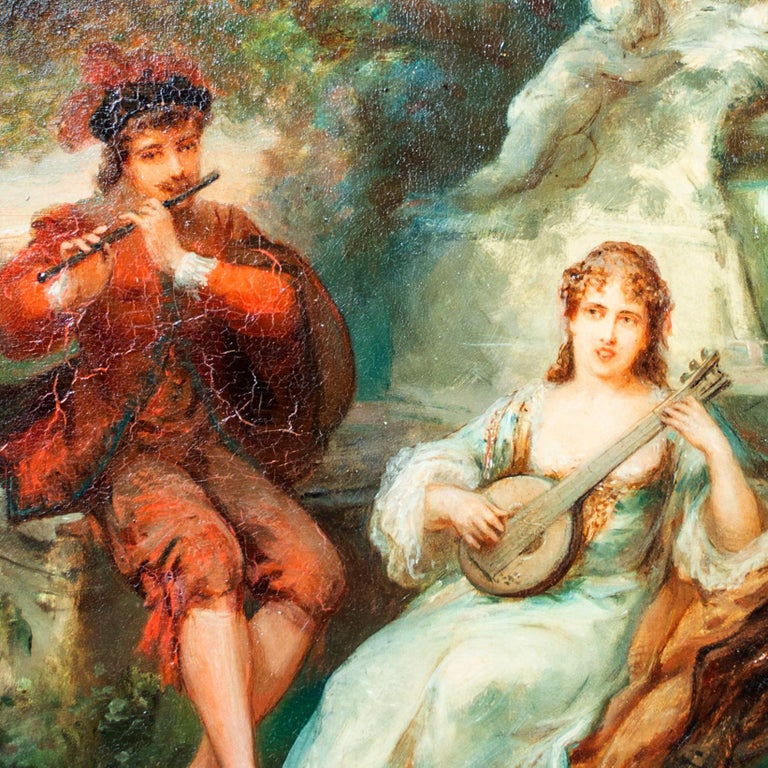 'Two Musicians' original signed oil on mahogany painting, garden 19th century - Brown Figurative Painting by Émile Bemindt