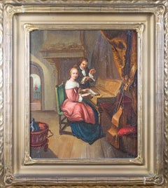 'The Music Lesson' original oil painting after Dou with clavichord and viol