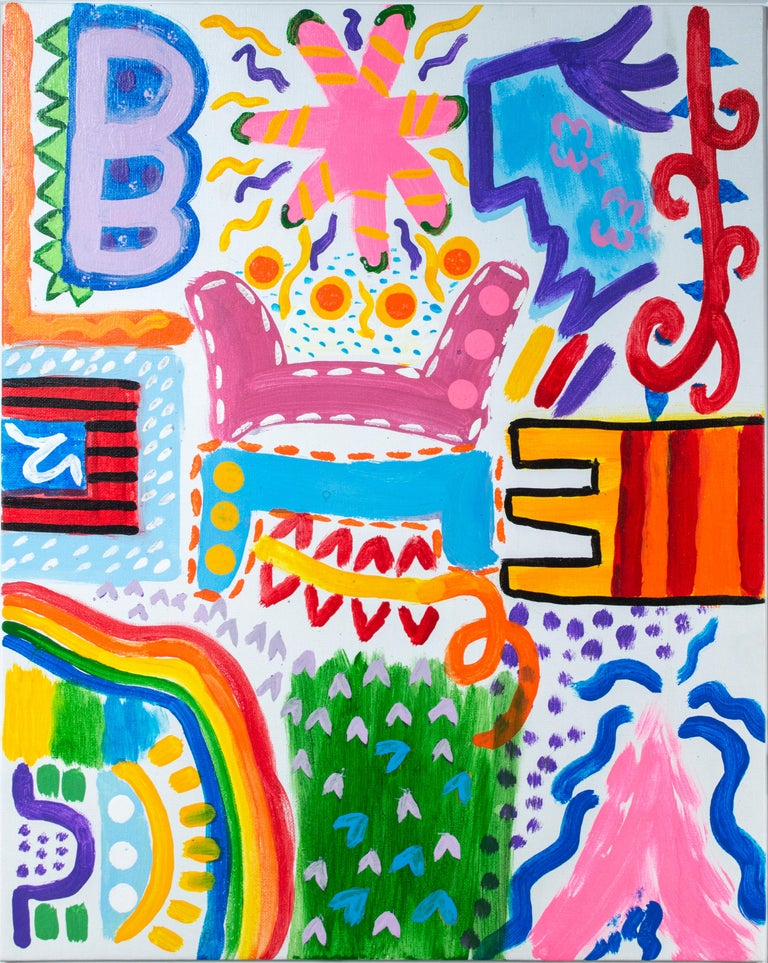 'Campfire Stories' original signed acrylic painting pink blue red green yellow - Painting by Ariel McClearin