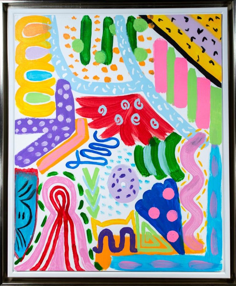 Ariel McClearin Abstract Painting - 'Pizza Party at the Beach' original signed acrylic painting
