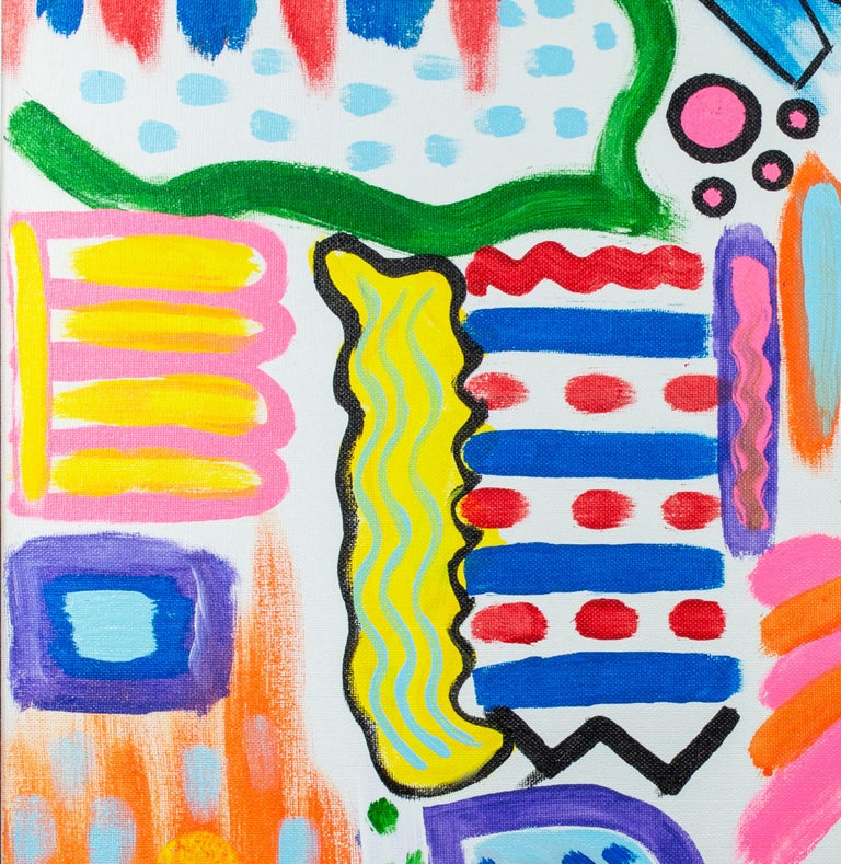 Part of the artist's 'The Chaos of My Mind' series, Ariel McClearin's 'Organic Banana Smoothie' is an original signed acrylic painting on canvas. In this painting, the artist playfully employs an array of colors to represent the complex interplay of