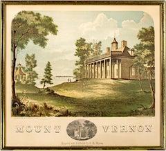 'Mount Vernon' original hand colored wood engraving George Washington 1850s