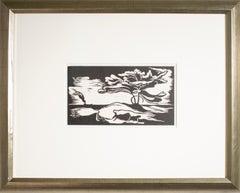'Lake Shore' original linoleum cut print by Harold Wescott, tree boat wave