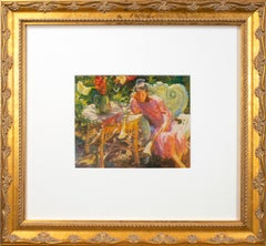 'Daydream' offset lithograph from the oil painting girl with wicker furniture