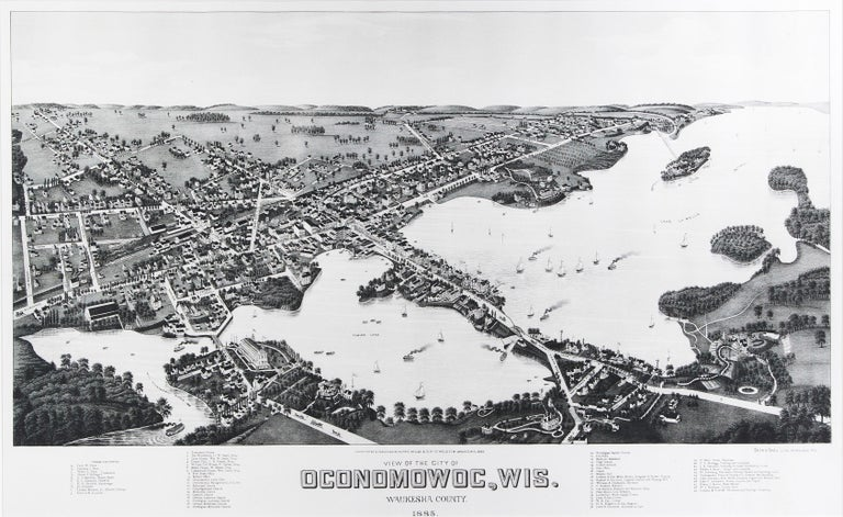 'View of the City of Oconomowoc, Wis.' giclée after 1885 original lithograph - Print by Beck & Pauli (Adam Beck and Clemens J. Pauli)