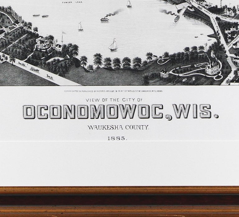 'View of the City of Oconomowoc, Wis.' giclée after 1885 original lithograph - Victorian Print by Beck & Pauli (Adam Beck and Clemens J. Pauli)