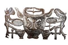 'Bossou (Horned Bull)' original steel drum relief with Voudou Lwa figures