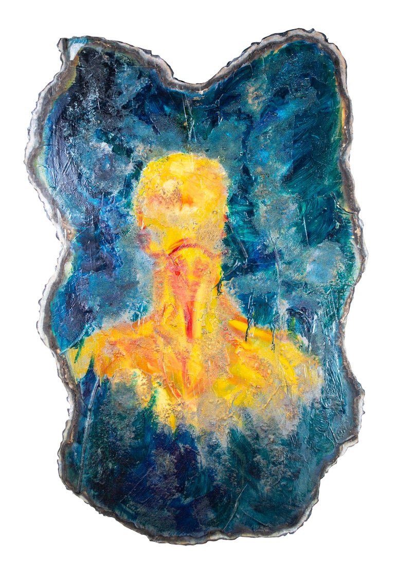 'Imagine' original mixed media on aluminium painting blue with yellow figure - Mixed Media Art by Kelly Butenhoff