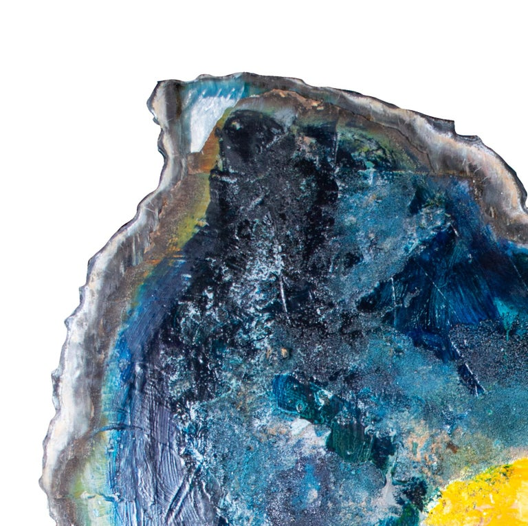 'Imagine' original mixed media on aluminium painting blue with yellow figure - Contemporary Mixed Media Art by Kelly Butenhoff