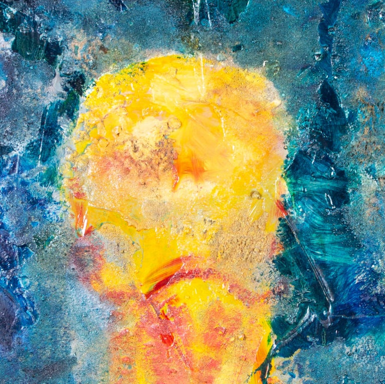 'Imagine' is an original mixed media painting on rough cut aluminium by American artist and appraiser Kelly Butenhoff. In the image, Butenhoff shows a yellow figure against a blue background; however, the painting is even more about the material of