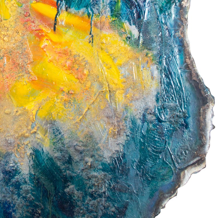 'Imagine' original mixed media on aluminium painting blue with yellow figure For Sale 1