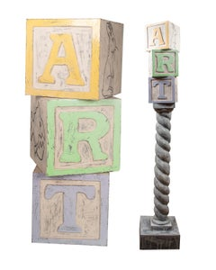 'Art Column (ART DBG)' original signed ceramic sculpture toy blocks pop art