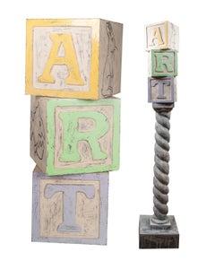 'Art Column (ART DBG)' original signed ceramic sculpture toy blocks pop art