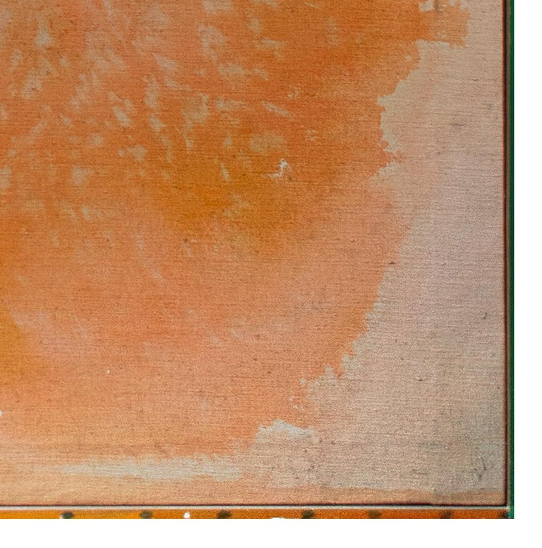 'Peach Stoned' mixed media painting peach abstract expressionist - Beige Abstract Painting by John Colt