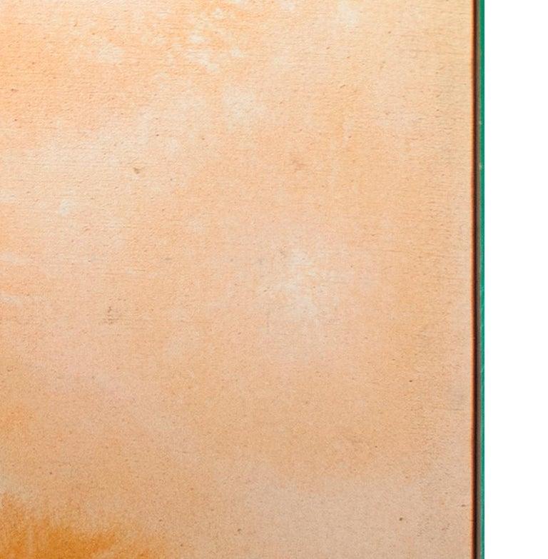 'Peach Stoned' mixed media painting peach abstract expressionist - Abstract Expressionist Painting by John Colt
