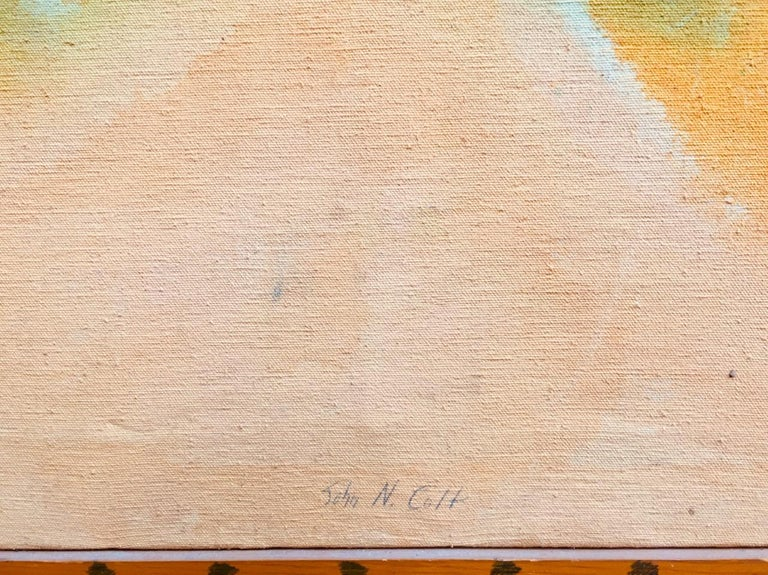 'Peach Stoned' mixed media painting peach abstract expressionist For Sale 1