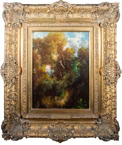 'Forest at Fountainbleau' original oil painting on board Barbizon School