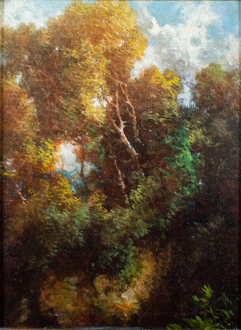 'Forest at Fountainbleau' original oil painting on board Barbizon School - Painting by Théodore Rousseau (circle of)