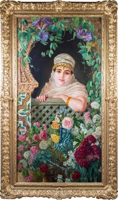 'Spanish Beauty at a Garden Window' orientalist oil painting of Moorish woman