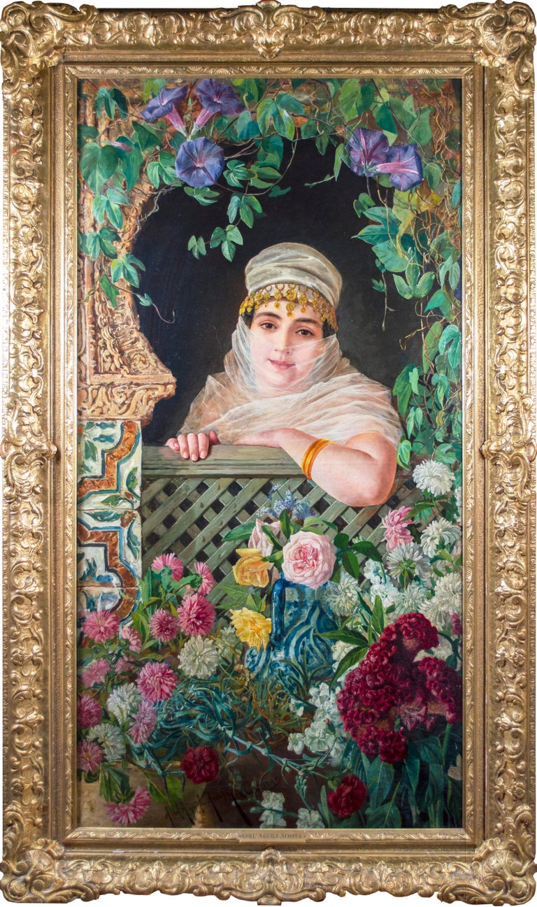 'Spanish Beauty at a Garden Window' is an exquisite example of orientalist painting by the Spanish artist Adolfo del Águila y Acosta. The artist produced several examples of Spanish 'Beauties' in painting, especially after 1900, often featuring