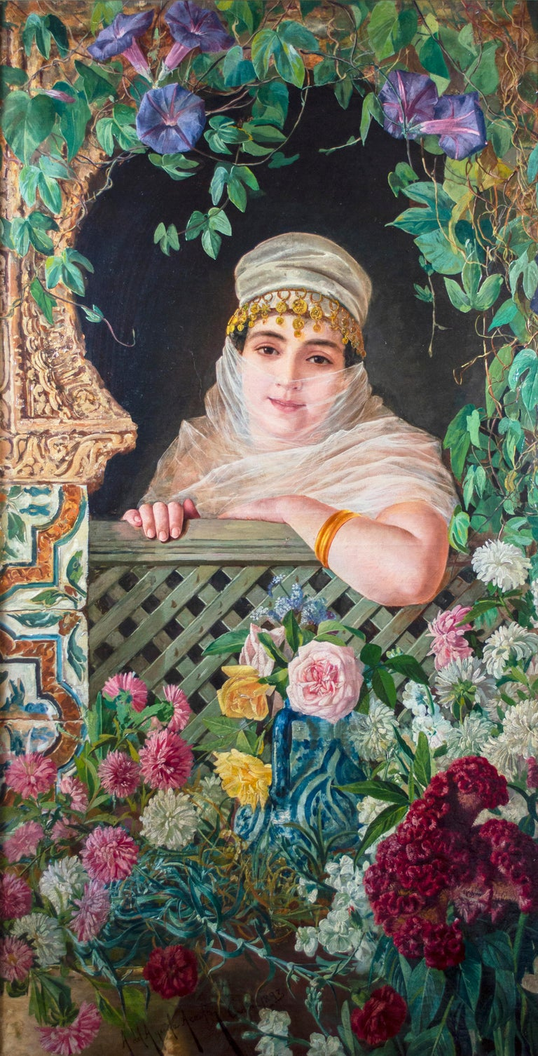 'Spanish Beauty at a Garden Window' by Adolfo del Águila y Acosta, orientalism For Sale 1