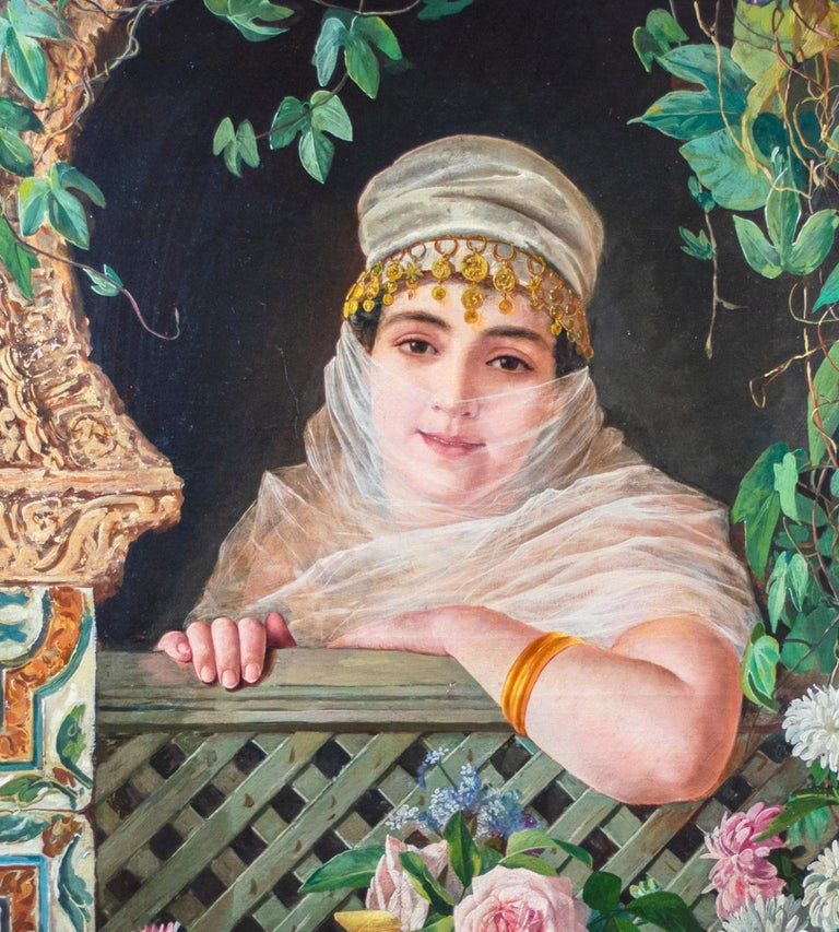 'Spanish Beauty at a Garden Window' by Adolfo del Águila y Acosta, orientalism For Sale 2