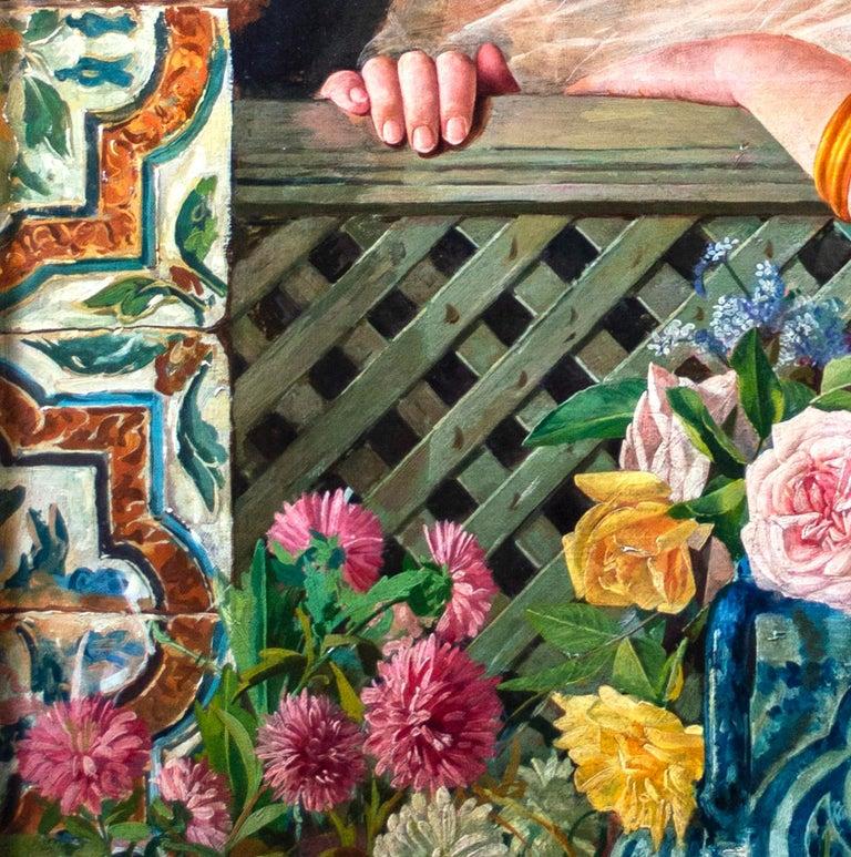 'Spanish Beauty at a Garden Window' by Adolfo del Águila y Acosta, orientalism For Sale 6