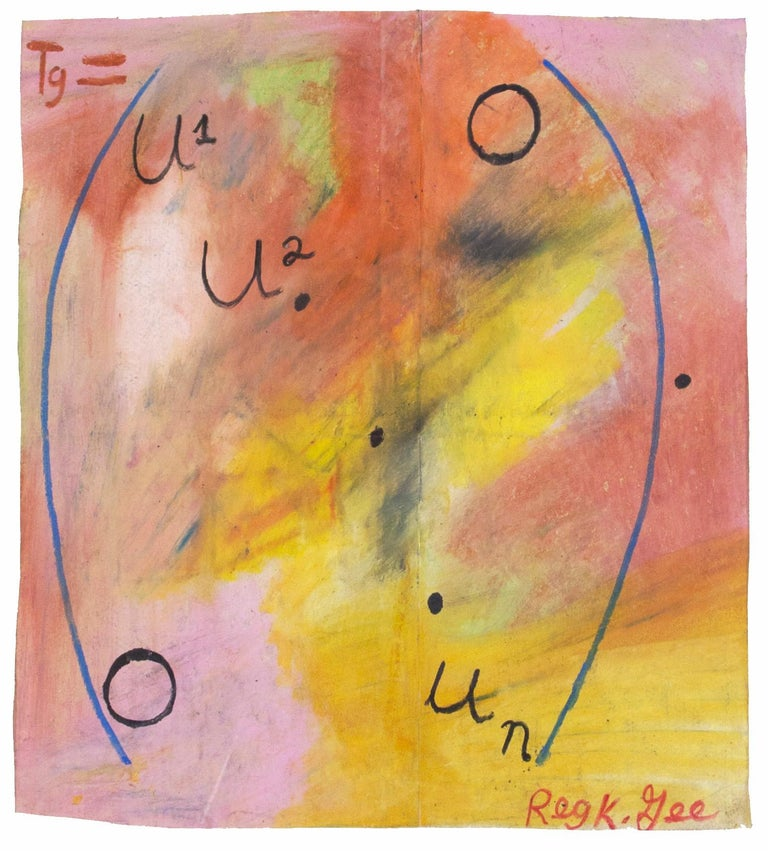 'Diagonal Matrix' original signed pastel drawing on grocery bag with mathematics - Art by Reginald K. Gee