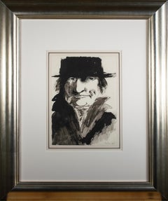 'Portrait of Goya' original ink drawing signed by Leonard Baskin