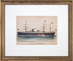 'The Great Republic' original hand-colored lithograph of steamship