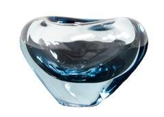 Blue heart vase signed by Per Lütken for Holmegaard Glass Company 1950s