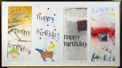Set of four original collages, 'Happy Birthday' cards by Joel Jaecks