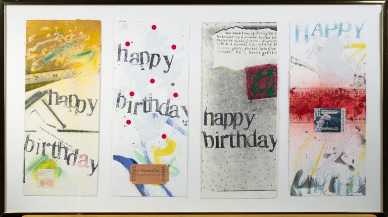 This set of four birthday collage cards are rare early examples of the small-scale collages that American artist Joel Jaecks began producing in the 1980s. Jaecks began working in watercolors when he was studying at UW-Milwaukee, but at the same time