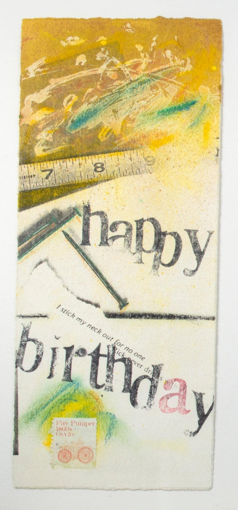 Set of four original collages, 'Happy Birthday' cards by Joel Jaecks For Sale 1