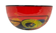 'Red Bowl' original hand-blown glass bowl signed by Ioan Nemtoi