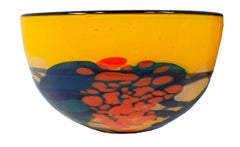 'Yellow Bowl' original hand-blown glass bowl signed by Ioan Nemtoi